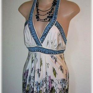 BCBG MAXAZRIA: Viola Multi Printed Halter Dress